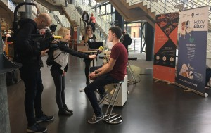 StartupCon 2017: Student team developing Roboy Junior interviewed by TV reporter