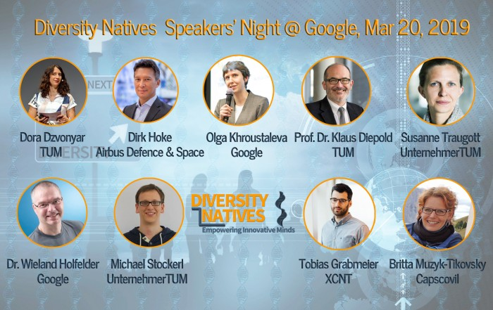 Diversity Natives Speakers' Night at Google IsarValley on Mar 20, 2019